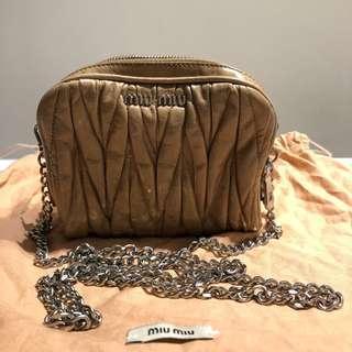 Miu Miu Cammeo Matelasse Lux Leather Mini Pochette