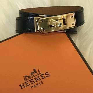 f6faa0e908 Authentic Brand New Hermes Kelly Double Tour Black with Gold Hardware