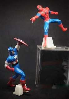 Spiderman and Captain America action figures