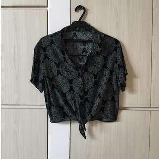 REPRICED Black patterned tie top