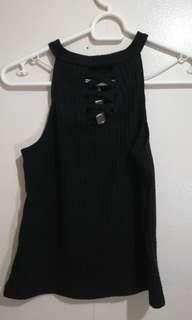 2-way black halter top