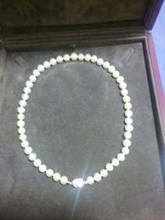 珍珠頸鏈保證珍珠 16吋 銀球少带