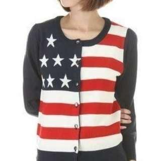 專櫃 日牌 Jeanasis 美國國旗 針織外套 短 女 上衣 薄外套 #五折清衣櫃