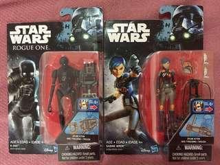 Star Wars Rebels Rogue One K-2SO Sabine Wren 3.75inch Action Figure Set