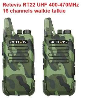 🚚 Christmas 🎄 promotion! Retevis RT22 UHF 400-470MHz 16CH CTCSS/DCS Two Way Radio New model CAMO 2pcs Mini Walkie Talkie