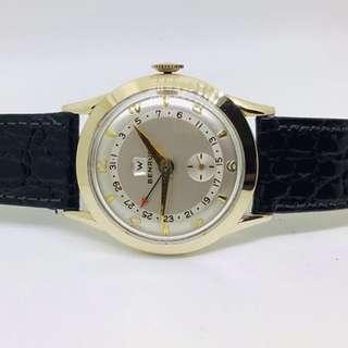 Brand New NOS Vintage Swiss made BENRUS Day Date Pointer Calendar no moonphase / Triple Date Calendar watch