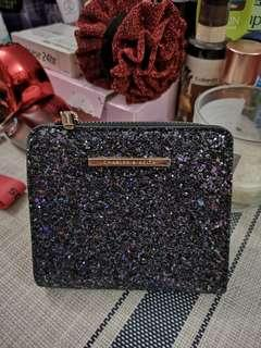 Charles & Keith Black Texture Square Wallet #DEC30