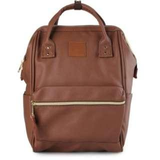 ANELLO Leather Backpack dark brown