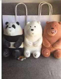 BNWT We Bare Bears Miniso Soft Toys