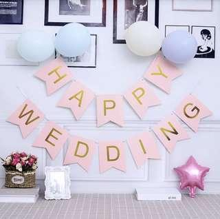 Happy Wedding flag Pink