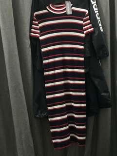 sporty striped ribbed knitted