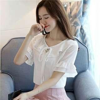BLOUSE HONESTA PUTIH  BAHAN BALOTELLY. TALI RUMBAI. ALLWIZE FIT XL LD104 PJ63.