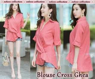 Blouse ghea cross salem  matt balotelly ld100cm pj70cm bagian dada ada kancing kemeja model menyilang good cutting