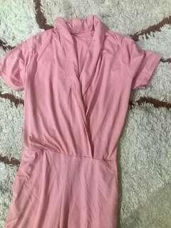 Jumpsuit panjang Pink / bahan kaos long jumpsuit
