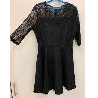 Black Mid Sleeved Lace Dress