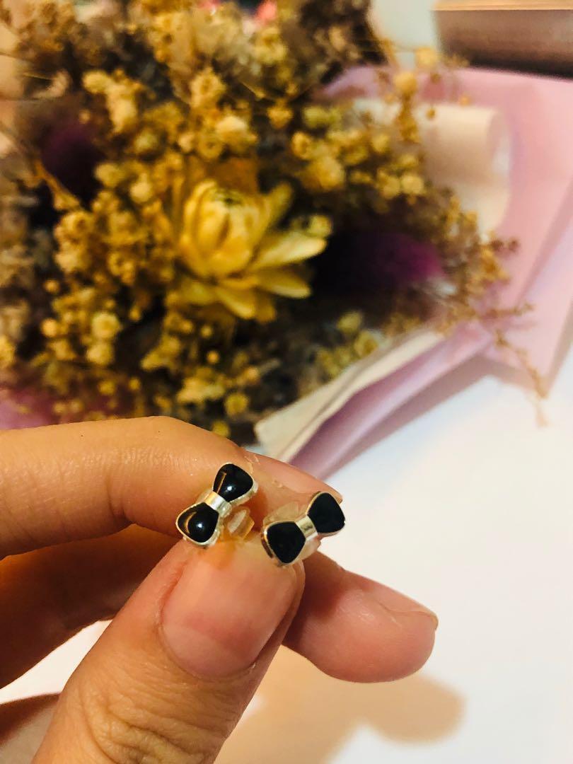 黑色蝴蝶結耳釘 #十二月女裝半價