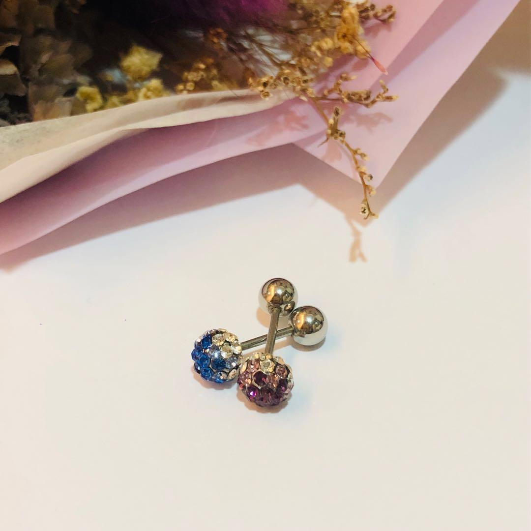 水鑽漸層耳釘 藍/紫 單賣 #十二月女裝半價