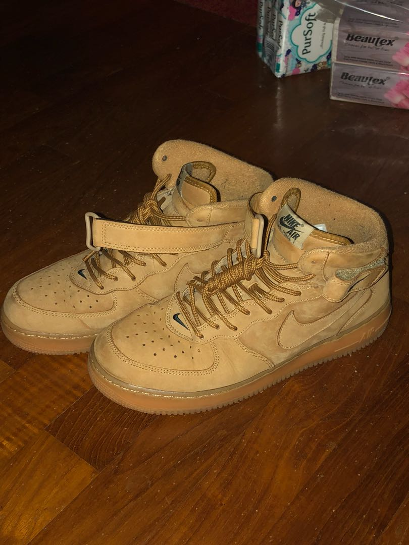 sports shoes 26282 c4abe Air Force 1 Mid Flax US 10.5, Men s Fashion, Footwear, Sneakers on ...