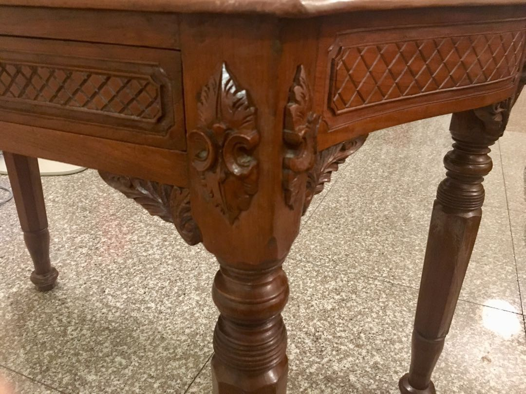 Antique solid wood carved table furniture tables & chairs on carousell