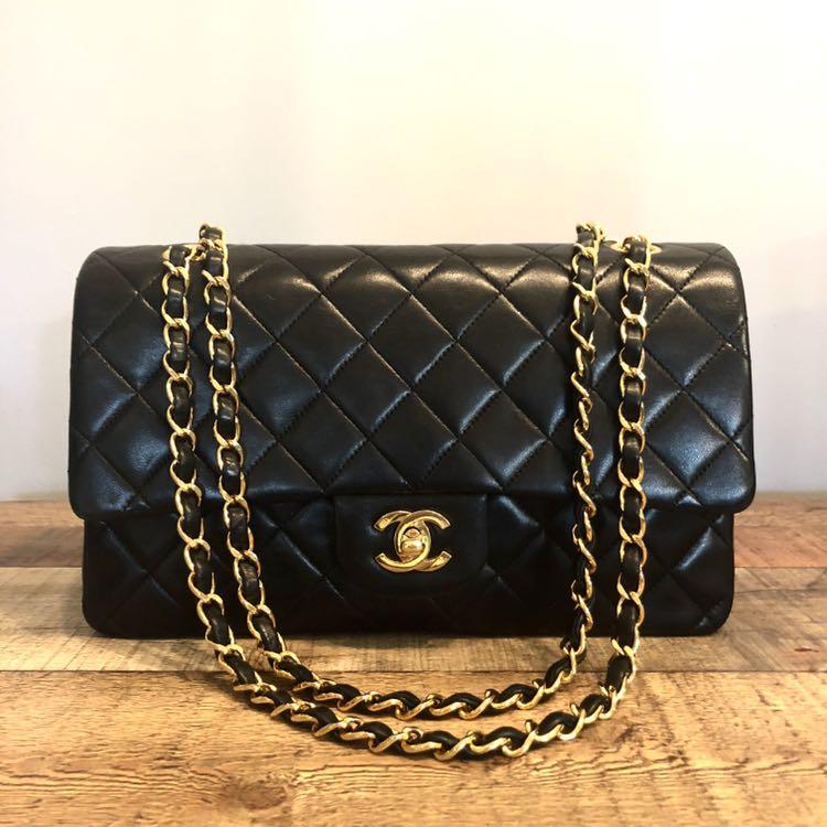 7b358dedd205 Authentic Chanel 10 Inch Classic Flap Bag w 24k Gold Hardware ...