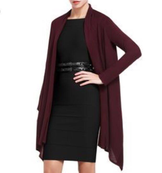 BCBG MAX AZRIA cardigan wrap dark brown silk & wool