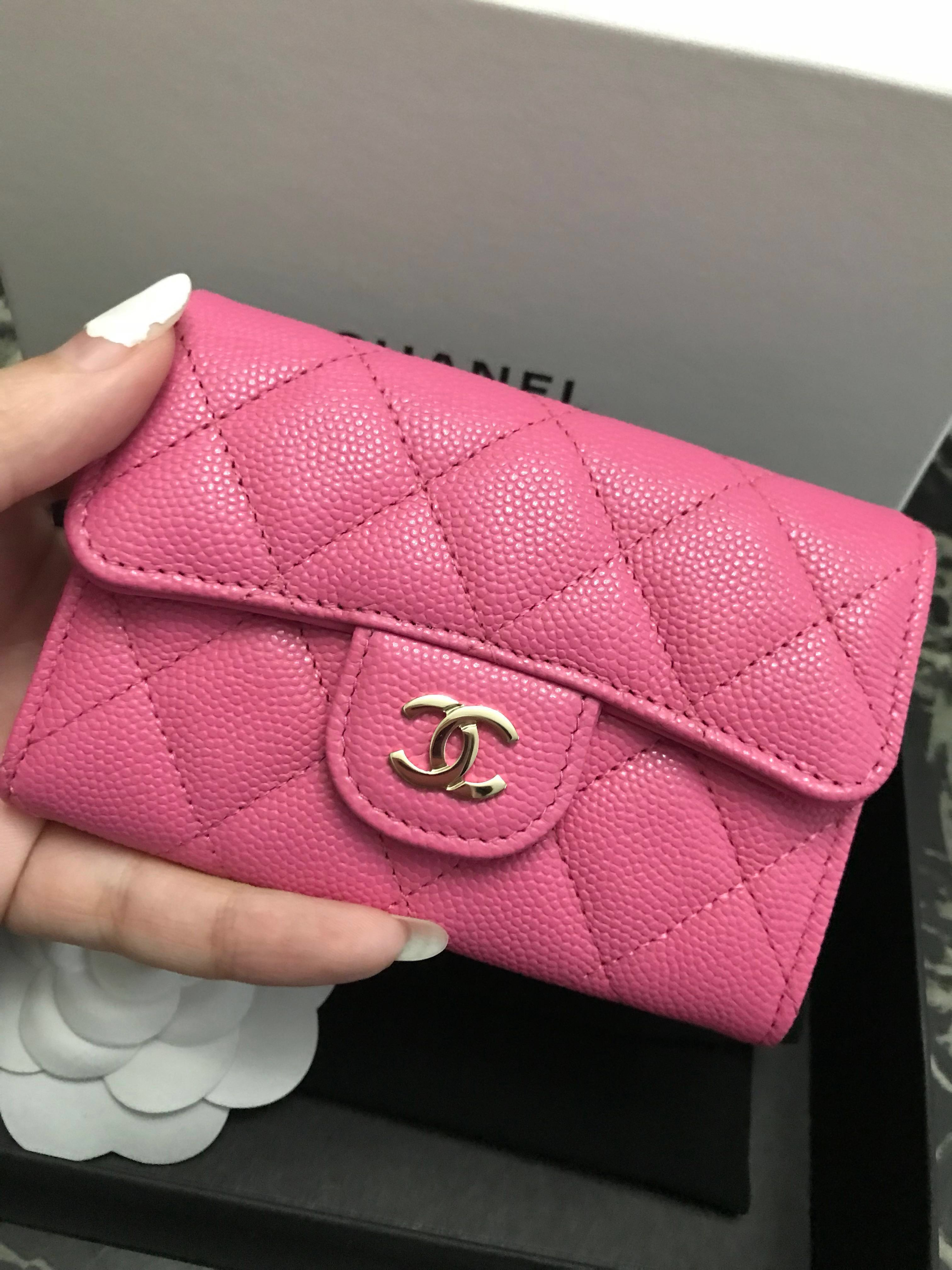 uk availability 2ca81 28d28 💝BNIB💝19C Chanel Card Case Pink Caviar Ghw Slg Wallet #26