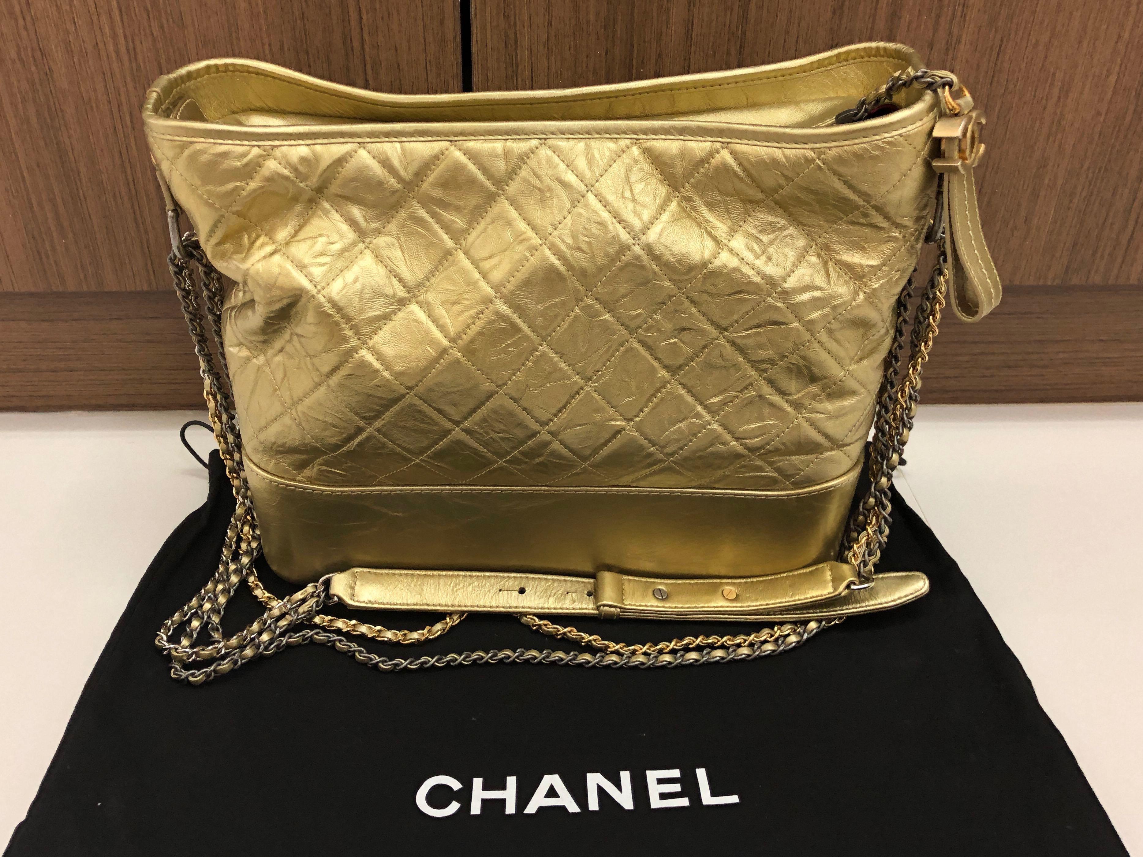 387ad081a2ca Chanel Gabrielle Hobo Bag - Metallic Gold, Luxury, Bags & Wallets, Handbags  on Carousell