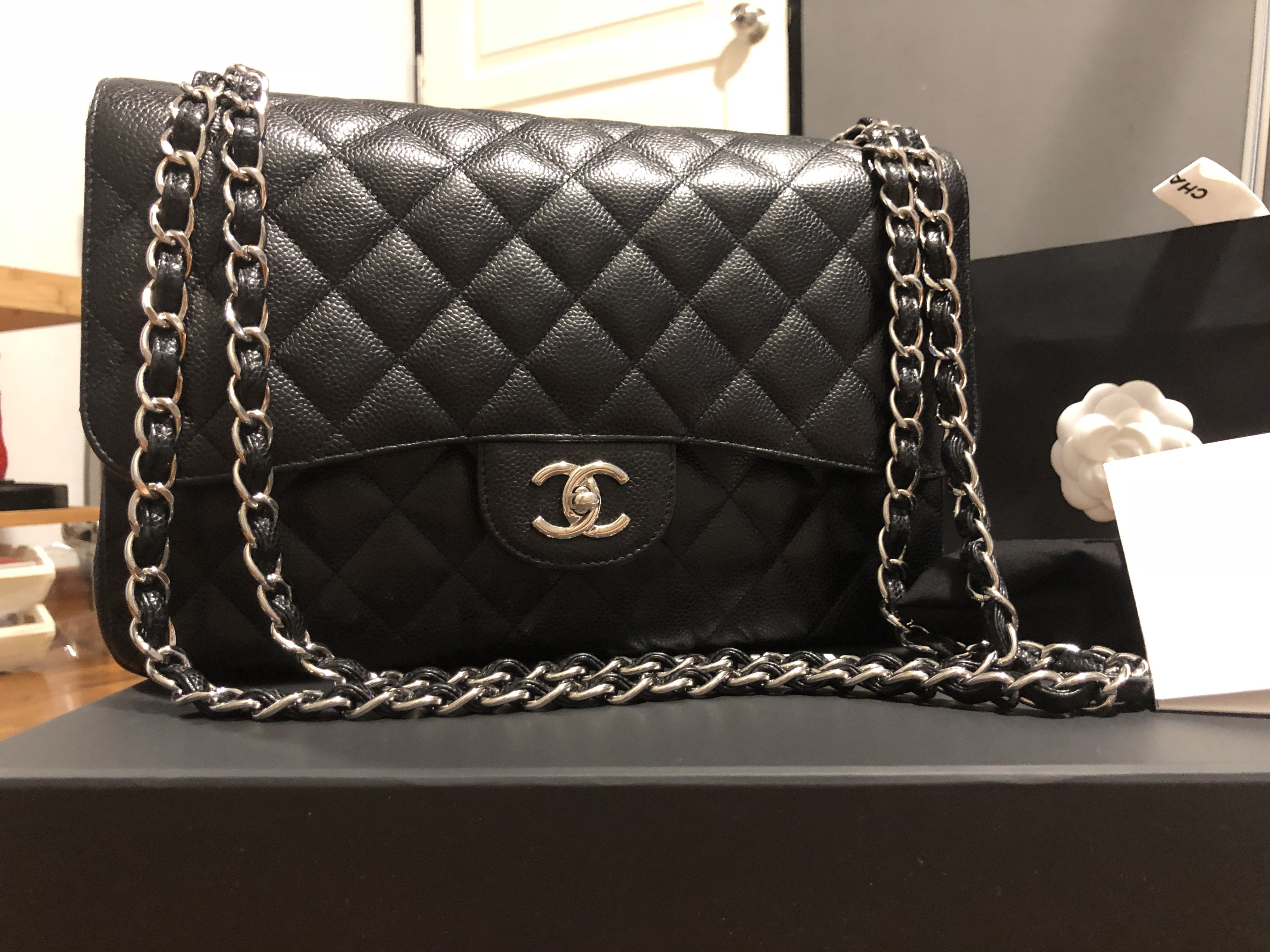 f3e85b9a8400 chanel Jumbo caviar double flap SHW, Luxury, Bags & Wallets, Handbags on  Carousell