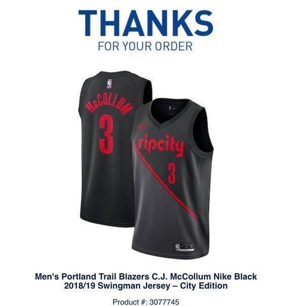 fd0be2597 CJ McCollum NBA Portland Trailblazers City Edition Swingman Nike ...