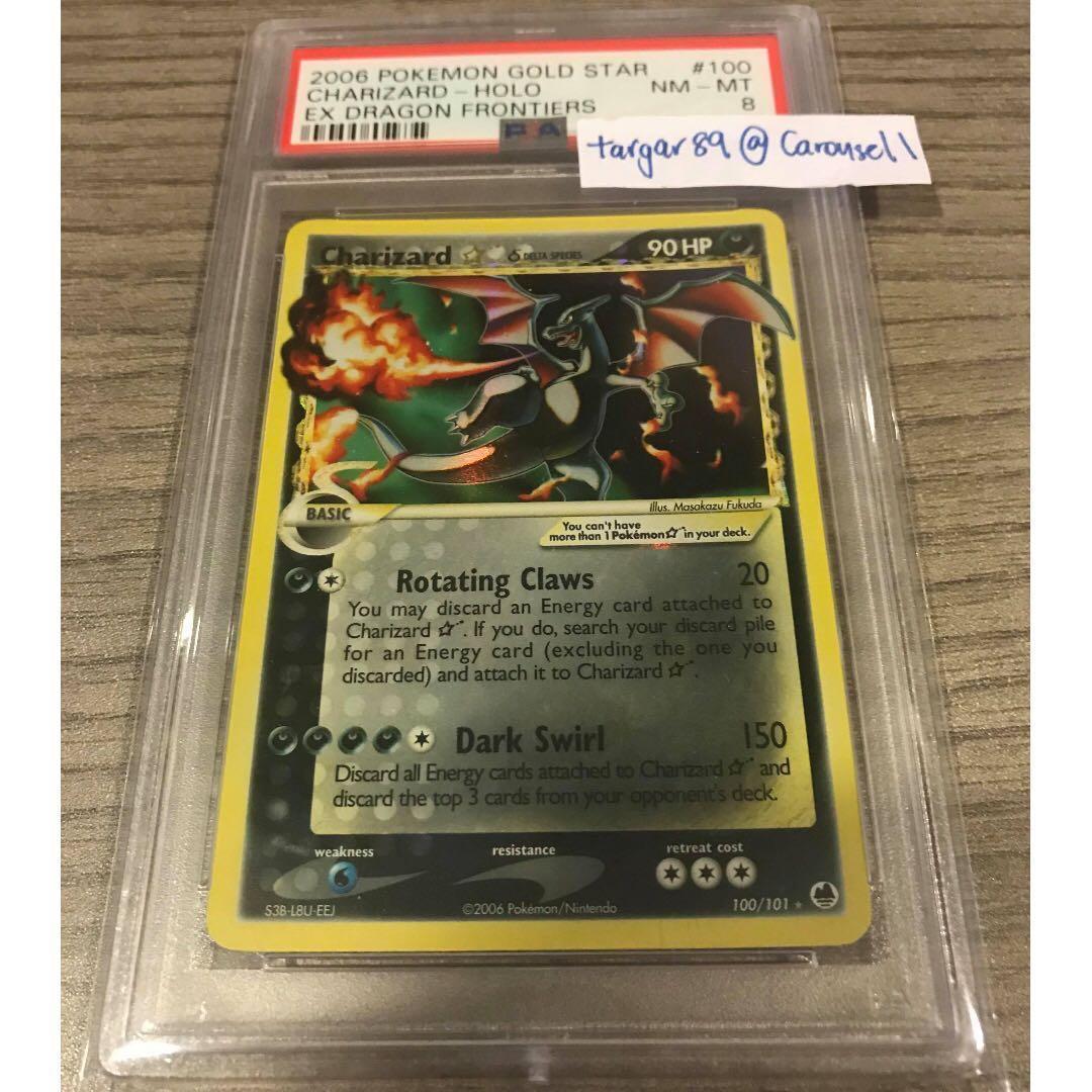 Gold Star Charizard PSA 8 Secret Rare Pokemon Cards 10 TCG Toys