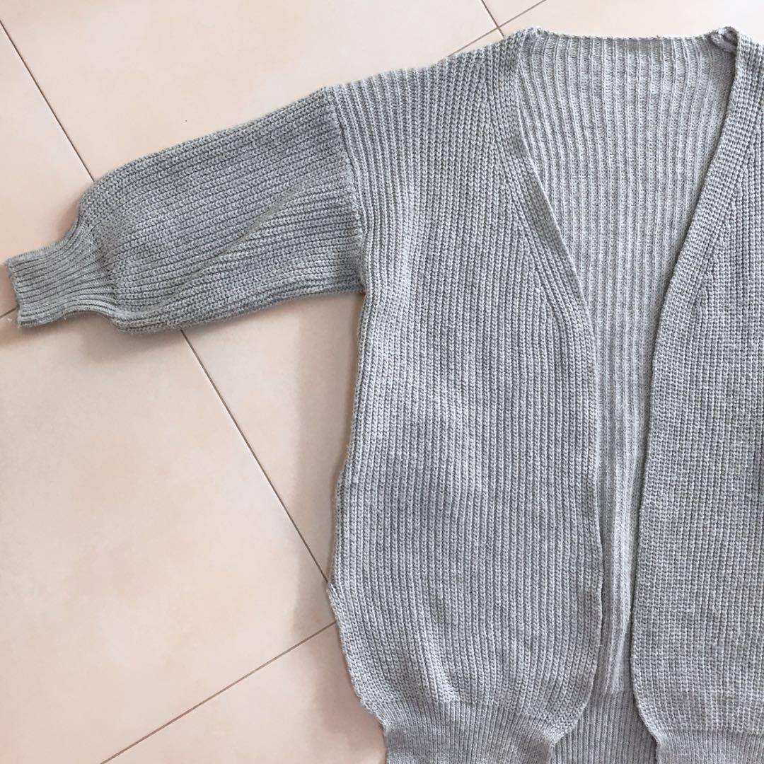 4a9c0537b57 Grey Knit Long Oversized Cardigan