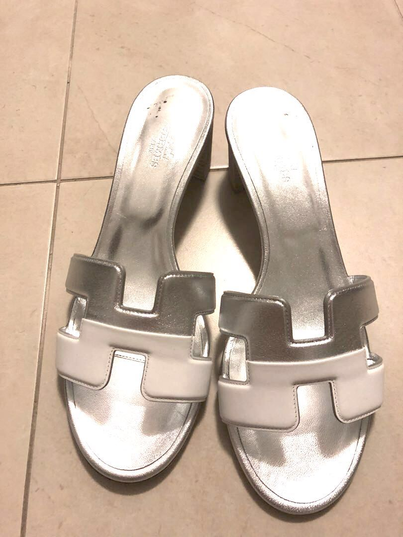 eae657786ba0 Hermes oasis sandals silver and white