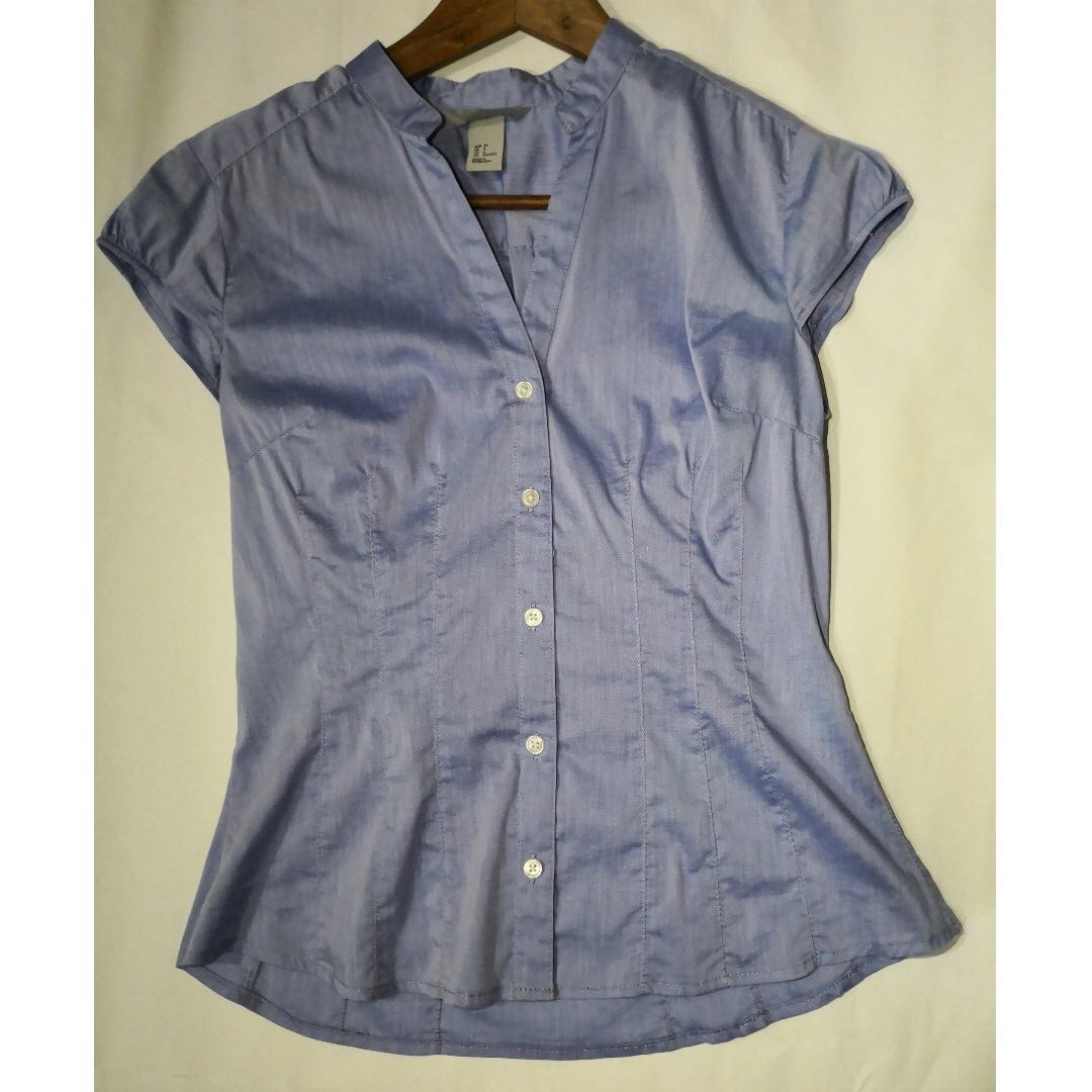 36955e78b3 H&M Light Blue Button Down Blouse, Women's Fashion, Clothes, Tops on ...