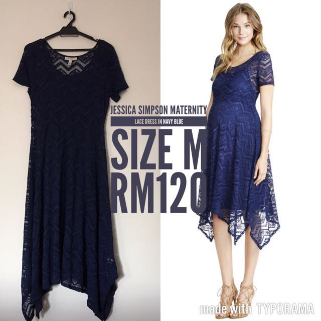 895f65322d729 Jessica Simpson Maternity Dress In Lace Navy, Women's Fashion ...