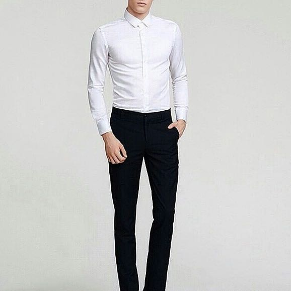 Kemeja putih pria lengan panjang polos, Men's Fashion, Men's Clothes, Tops on Carousell