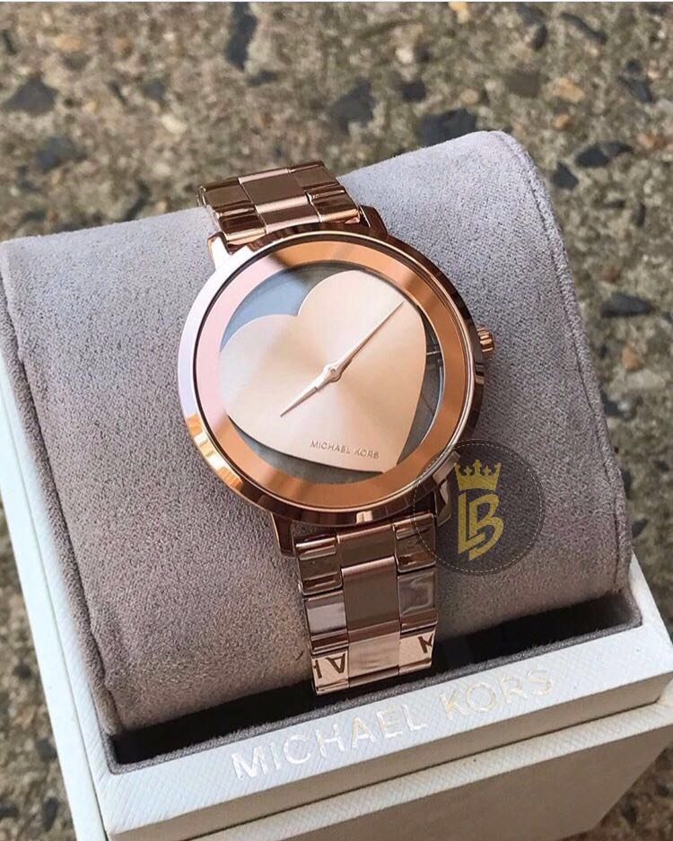 f9e0a7f14 MK Jaryn Rose Gold Tone Heart Ladies Watch, Women's Fashion, Watches ...