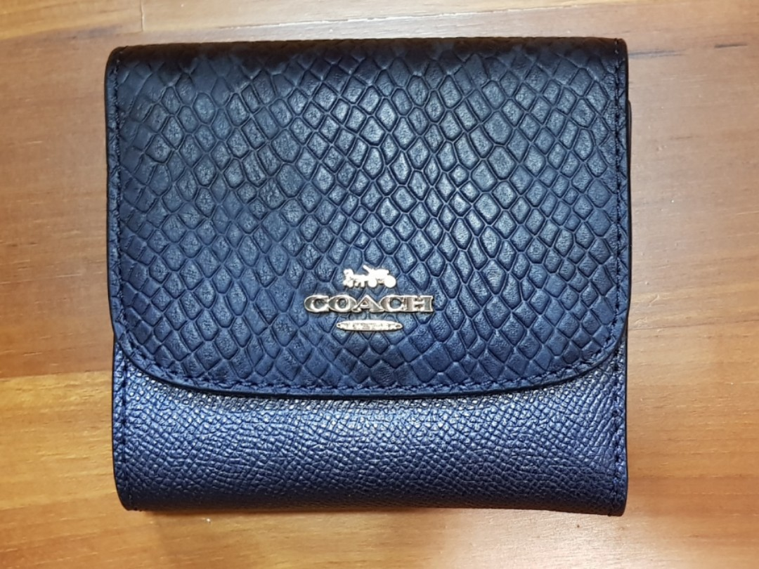 8c3d7ea38b45 NWT COACH METALLIC LEATHER EXOTIC SMALL WALLET BIFOLD LEATHER CLUTCH ...
