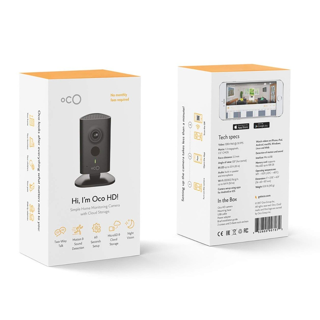 Oco HD Wi-Fi Security Camera System with Micro SD Card support and Cloud  Storage for Home and Business Monitoring, Two-Way Audio and Night Vision,
