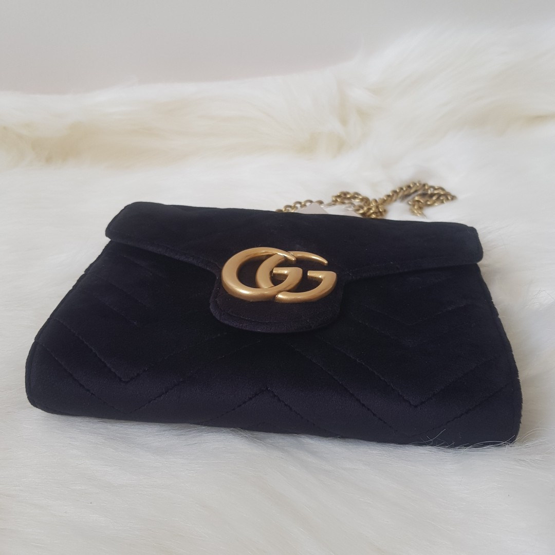 43bef51a542a ON HAND: Authentic GUCCI Marmont GG velvet wallet-on-chain bag ...