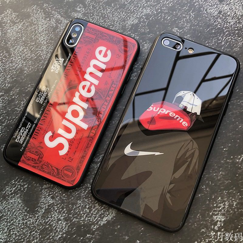 big sale ab160 172ff [po] supreme tide nike glossy glass phone case