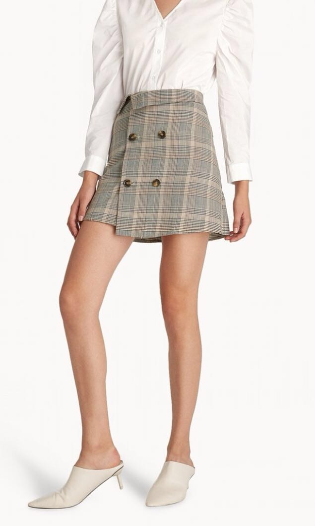 a2fbb26bfa7 POMELO Mini Glen Plaid Double Button Skirt XS