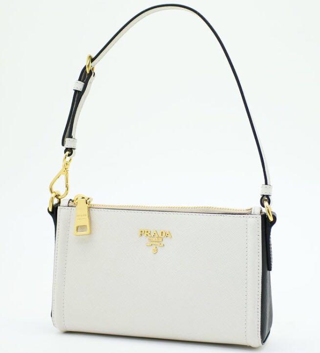 86069f7acc93 Prada 1N1733 Saffiano (Colour: Talco+Nero), Women's Fashion, Bags ...