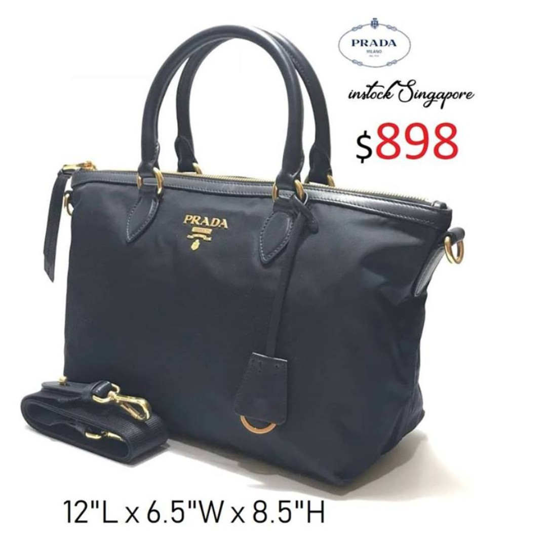 a7168a67757 READY STOCK authentic new $898 Prada Tessuto dark blue Nylon satchel ...
