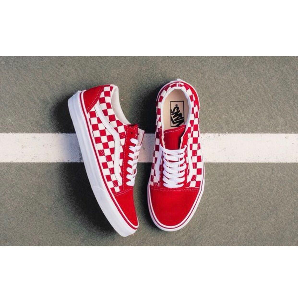 b764b441e9a8 Red White Checkerboard Old Skool Vans AUTHENTIC