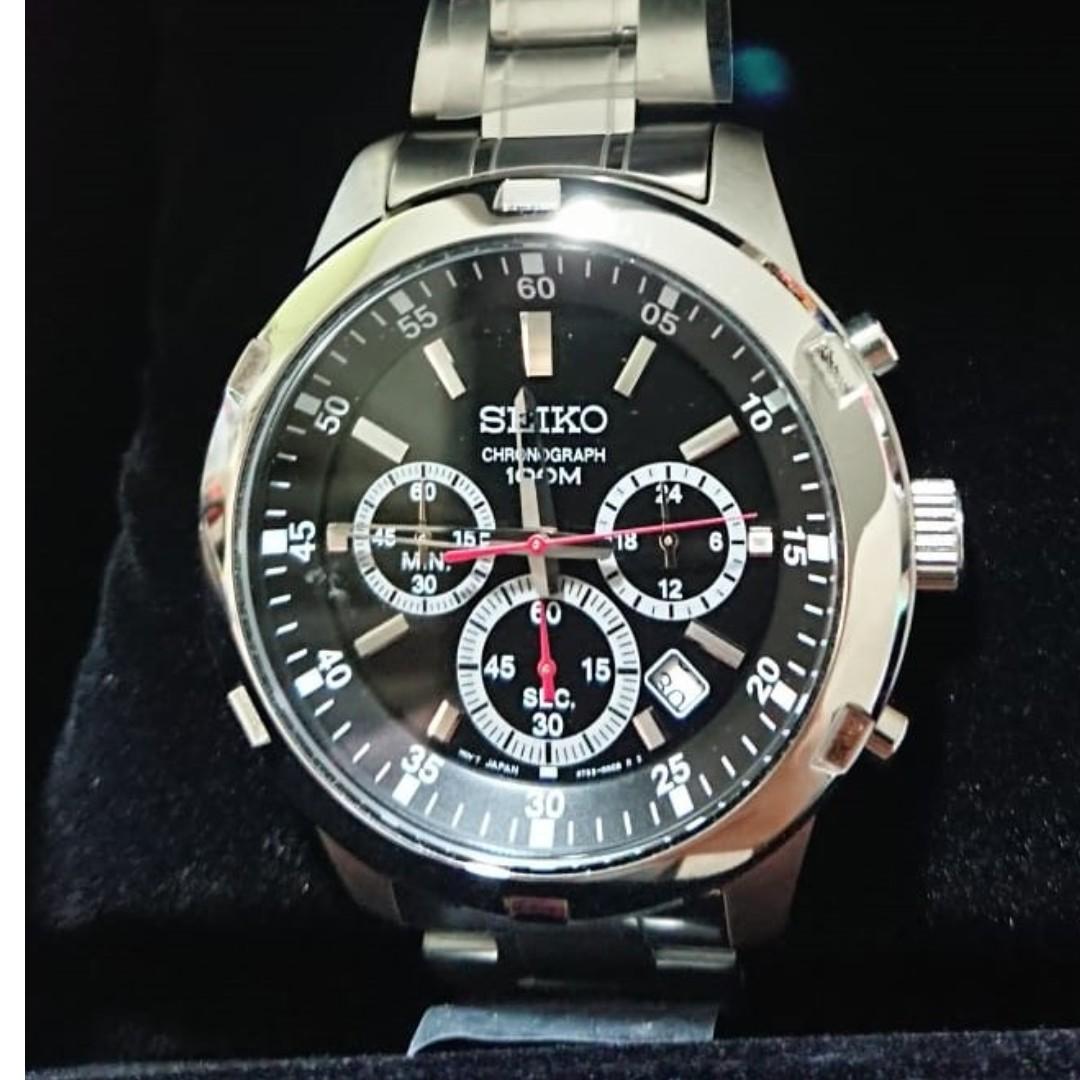 f95576cc6 Seiko Chronograph 100m Quartz Men's Silver Stainless Steel Bracelet ...