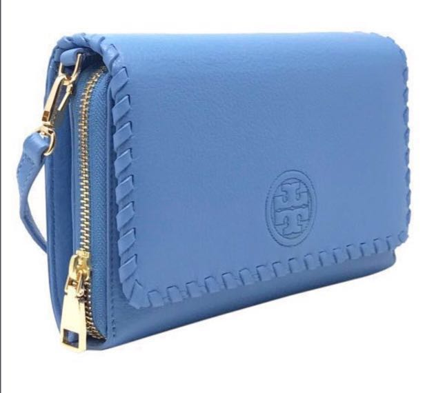 aa1431c9538 Tory Burch hudson Bay Marion Flat Wallet Leather Crossbody Bag ...