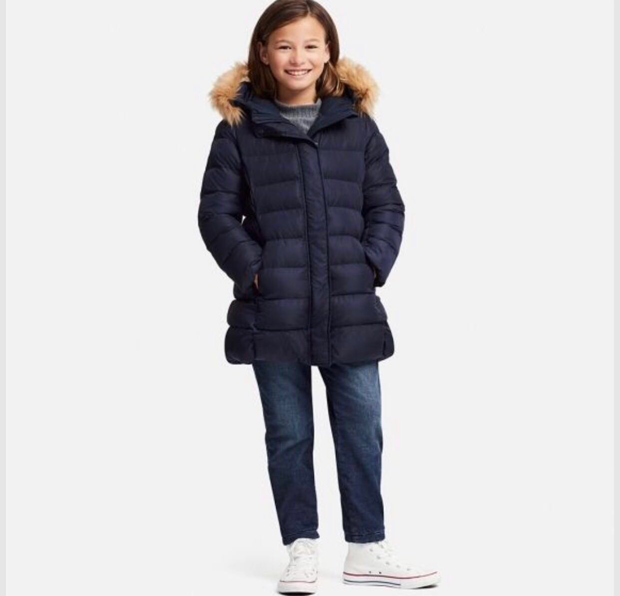 141fa038f Uniqlo Girls Winter Puffy Warm Padded Jacket Coat in Navy (Synthetic ...