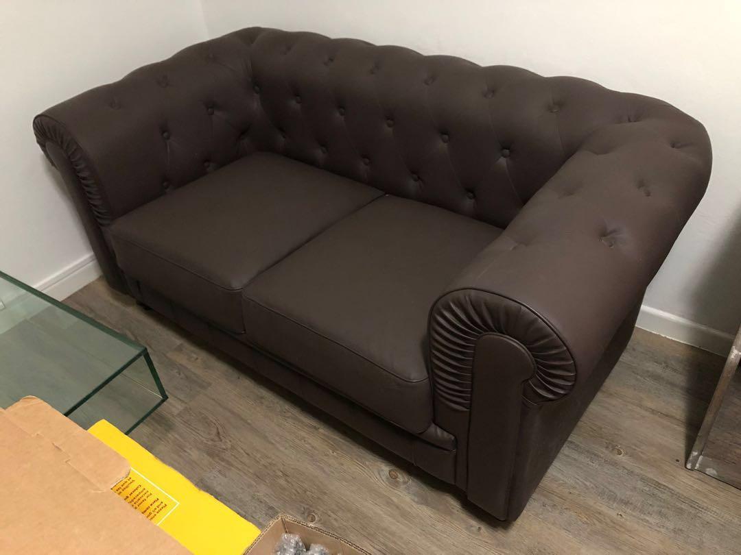 Strange Vintage Brown Chesterfield Sofa 2 Seater Furniture Sofas Cjindustries Chair Design For Home Cjindustriesco