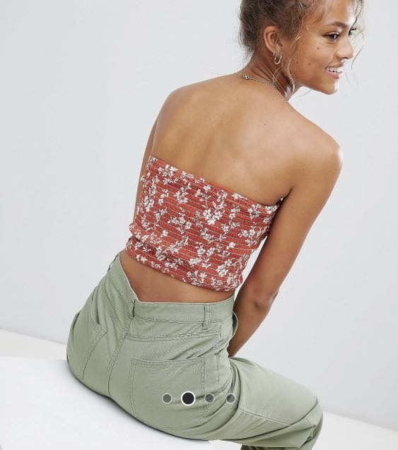 e73897a26ba Wednesday's Girl Shirred Bandeau Top in Rust floral, Women's Fashion,  Clothes, Tops on Carousell