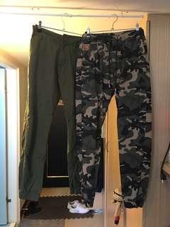 🚚 大放送。迷彩 軍綠縮口褲 二件400